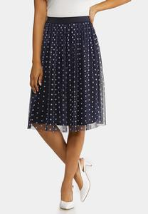 Dotted Navy Party Skirt