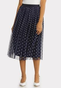 Plus Size Dotted Navy Party Skirt