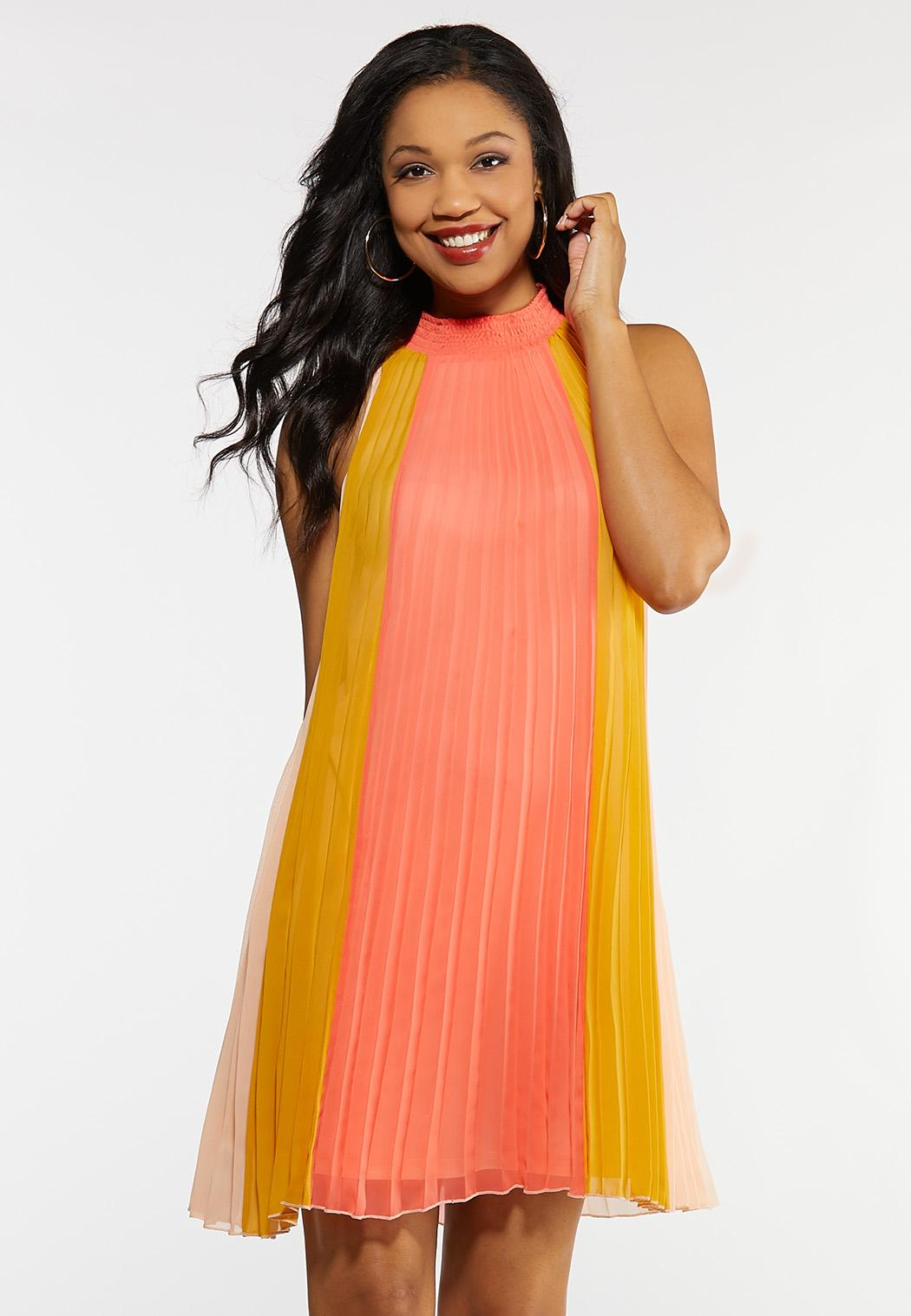Caribbean Coral Pleated Dress