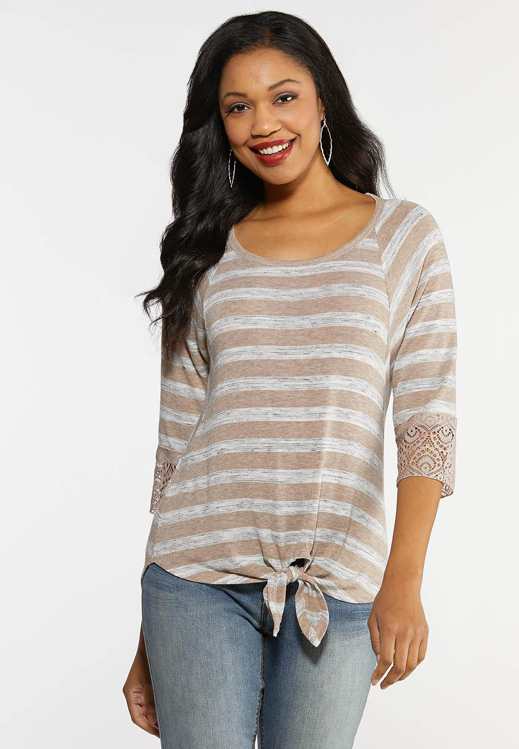 Lacy Striped Tie Hem Top