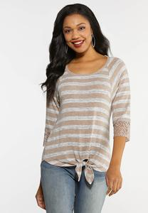 Plus Size Lacy Striped Tie Hem Top