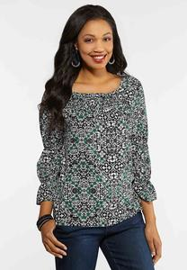 Plus Size Smocked Medallion Poet Top