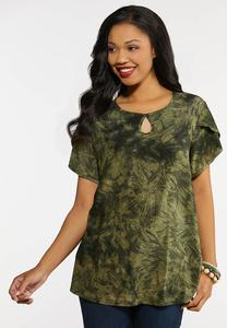 Plus Size Textured Green Top