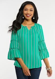 Plus Size Striped Pearl Embellished Top
