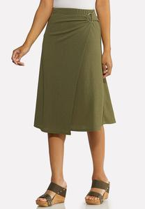 Olive Faux Wrap Skirt