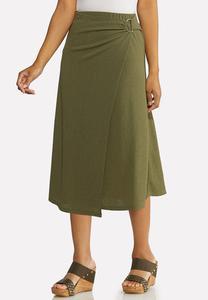 Plus Size Olive Faux Wrap Skirt