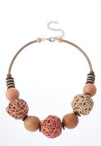 Raffia Wood Ball Short Necklace