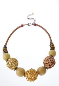 Raffia Wood Ball Short Necklace