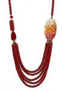 Red Seed Bead Shell Necklace