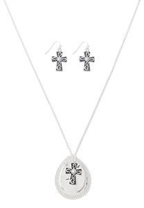 Cross Charm Inspirational Necklace Set