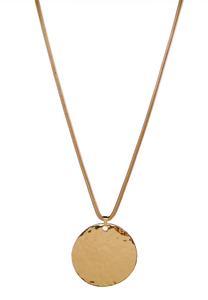 Hammered Gold Disk Necklace