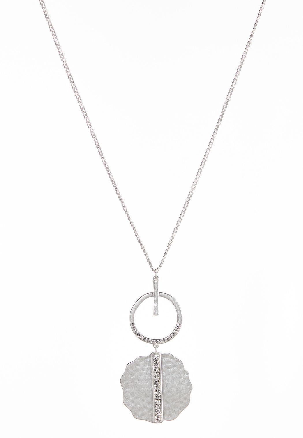 Metal Pendant Rhinestone Ring Necklace