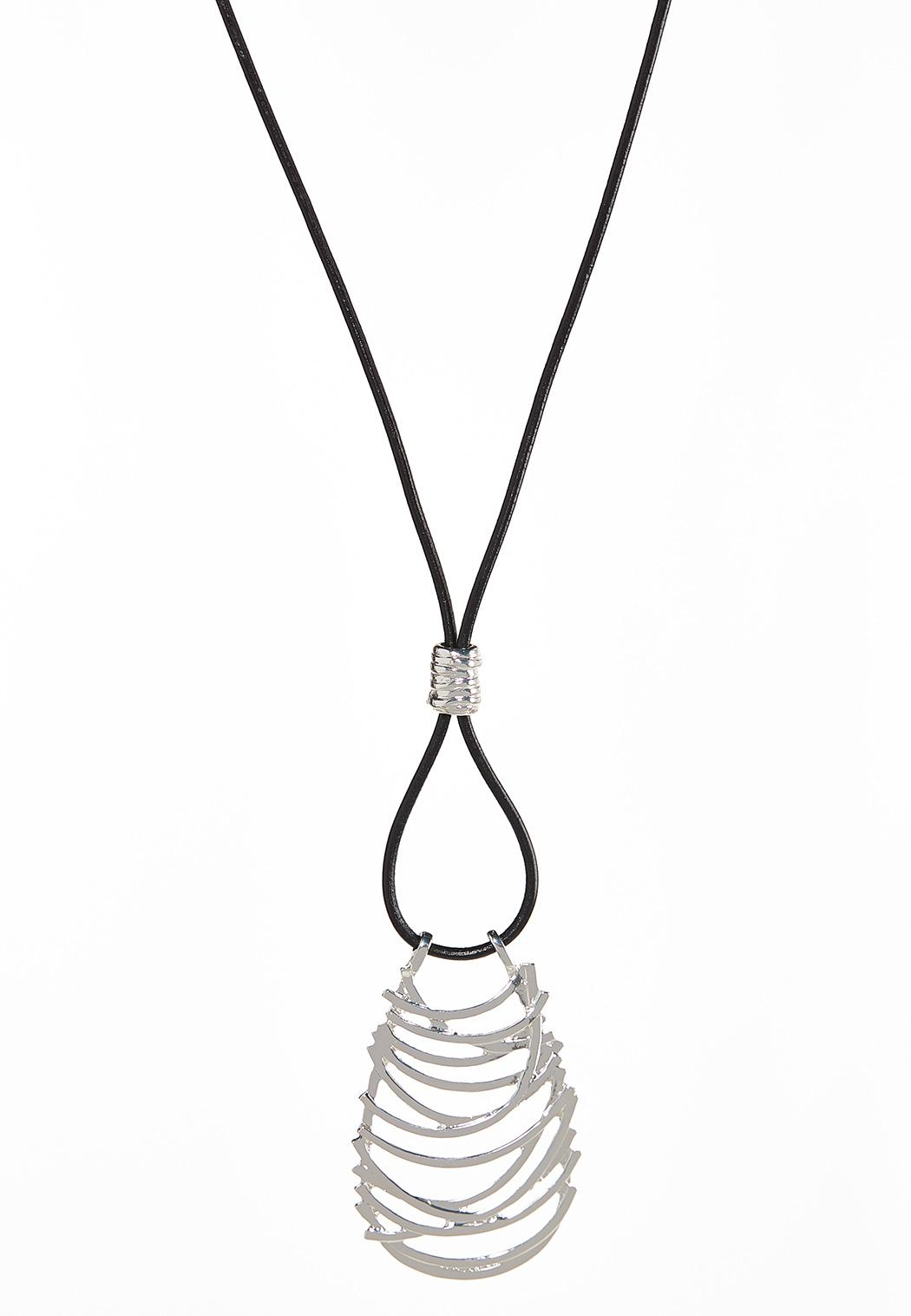 Cutout Pendant Cord Necklace