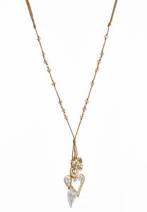 Filigree Heart Charm Cord Necklace