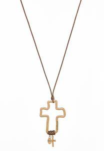 Corded Psalm Cross Pendant Necklace