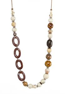 Long Wood Mixed Bead Necklace