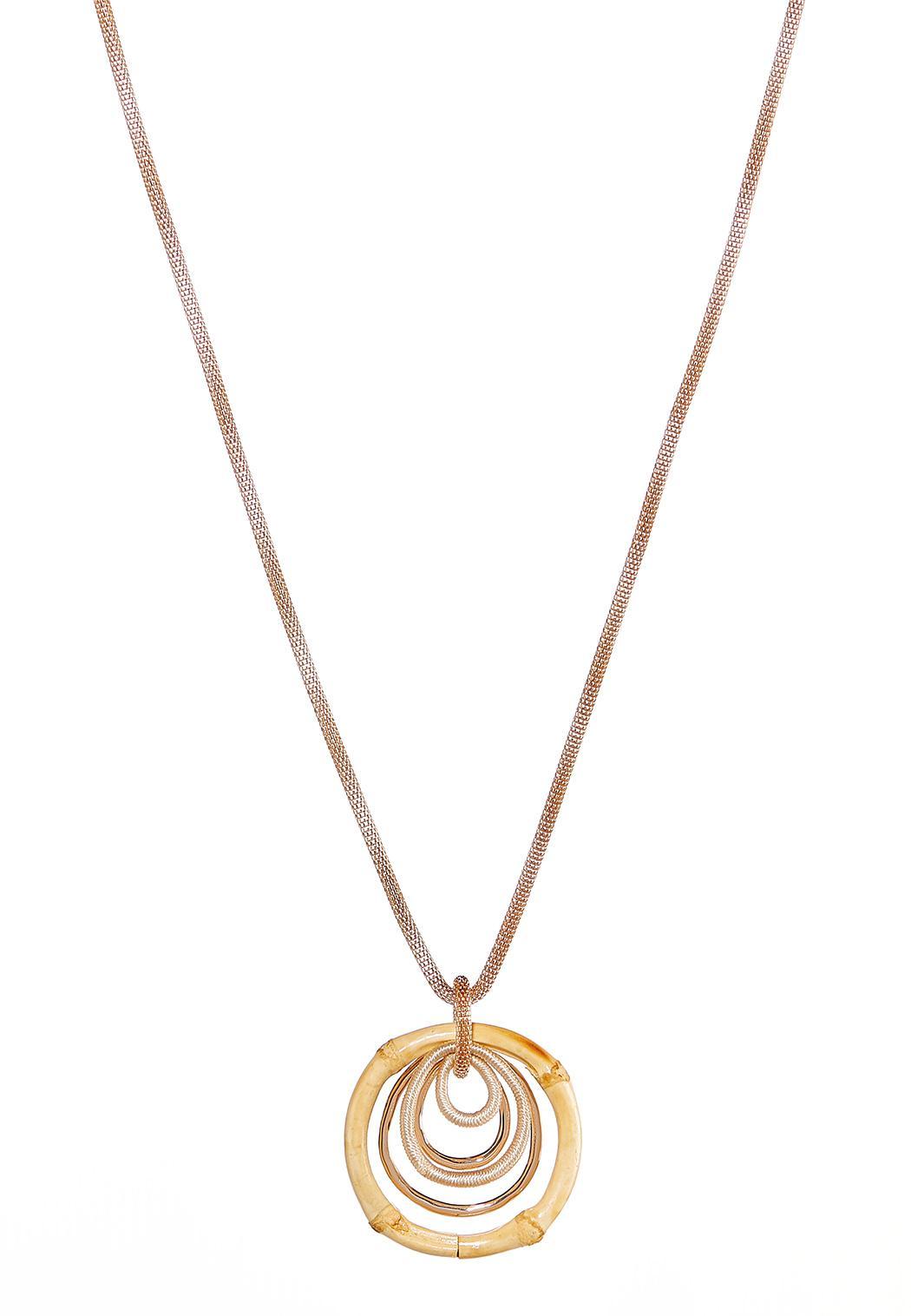 Bamboo Circle Pendant Necklace