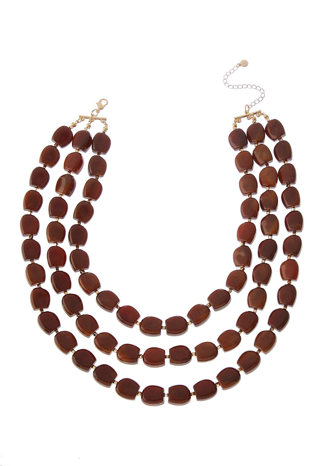 Triple Wood Bead Necklace