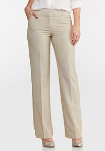 Petite Solid Trouser Pants