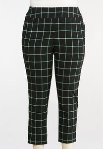 Plus Size Windowpane Plaid Pants