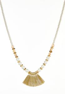 Pearl And Rondelle Fringe Fan Necklace