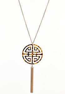 Tortoise Medallion Tassel Pendant Necklace