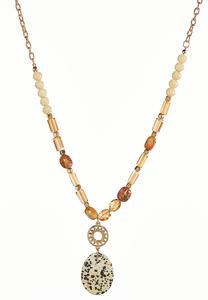 Speckled Pendant Beaded Necklace