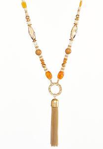 Resin Hammered Metal Tassel Necklace