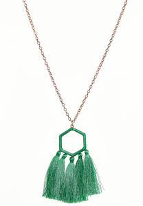 Octagon Tasseled Pendant Necklace