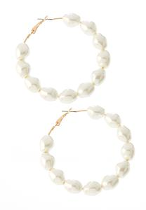 Ivory Pearl Hoop Earrings