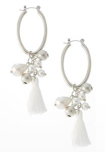 Shaky Pearl Tasseled Hoop Earrings