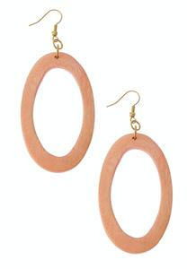 Natural Oval Wood Earrings
