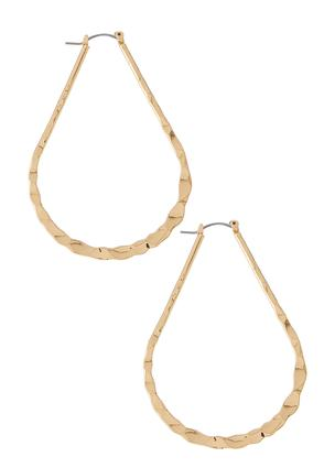 Hammered Tear Shaped Hoop Earrings