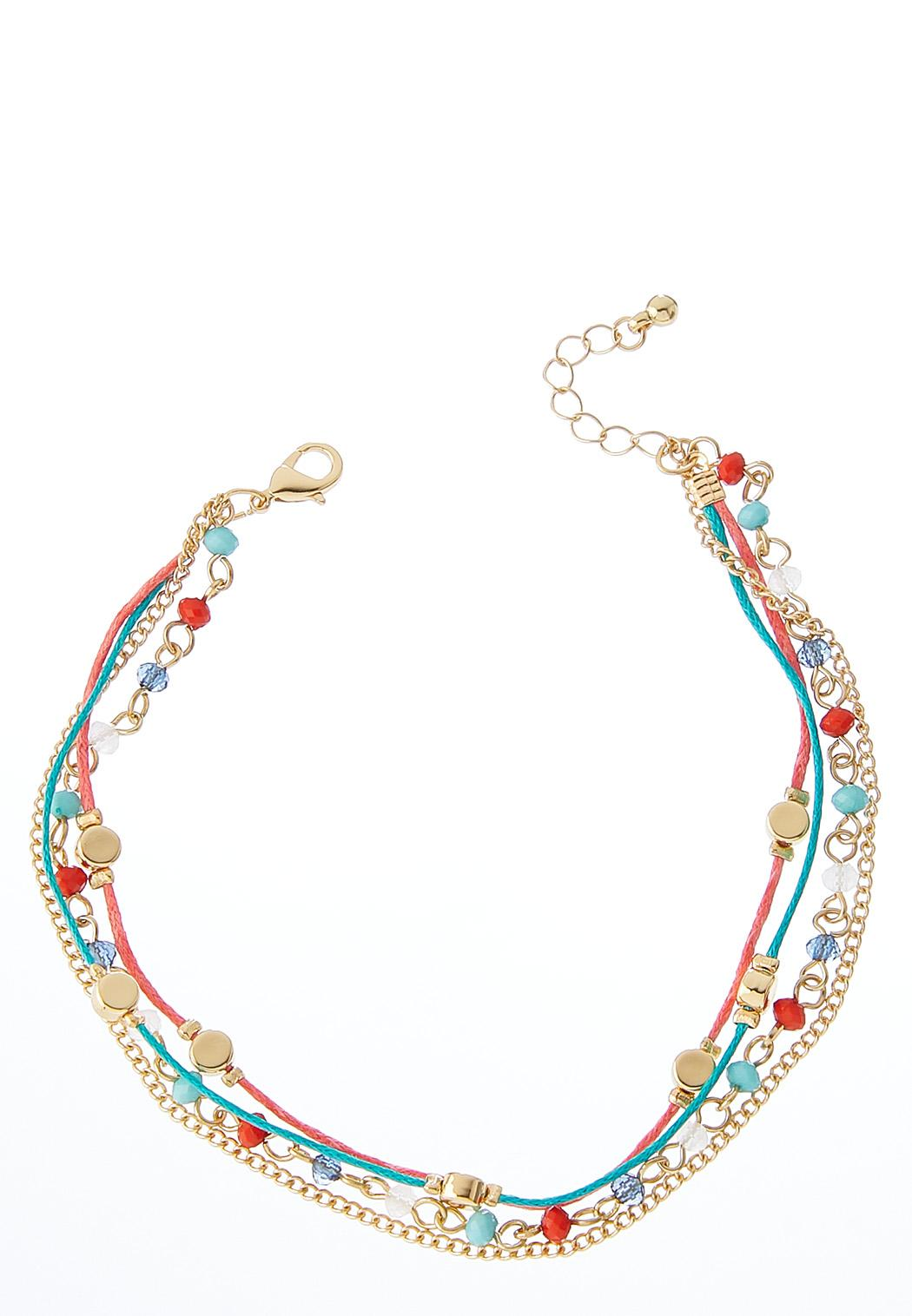 Multi Beaded Cord Anklet