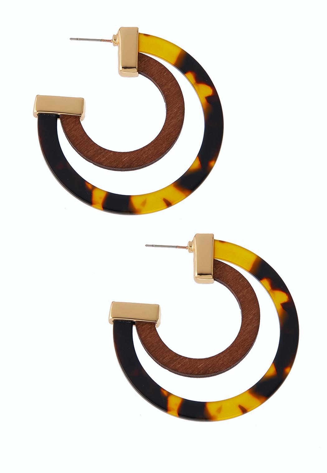 Tortoise Wood Hoop Earrings
