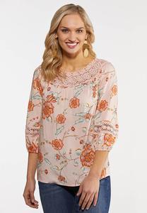 Plus Size Lacy Blush Floral Poet Top