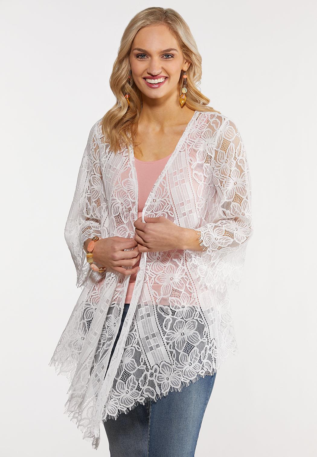 Plus Size White Lace Kimono