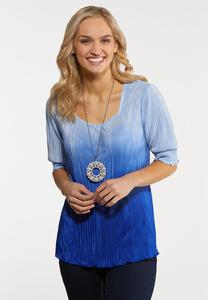 Plus Size Pleated Blue Ombre Top