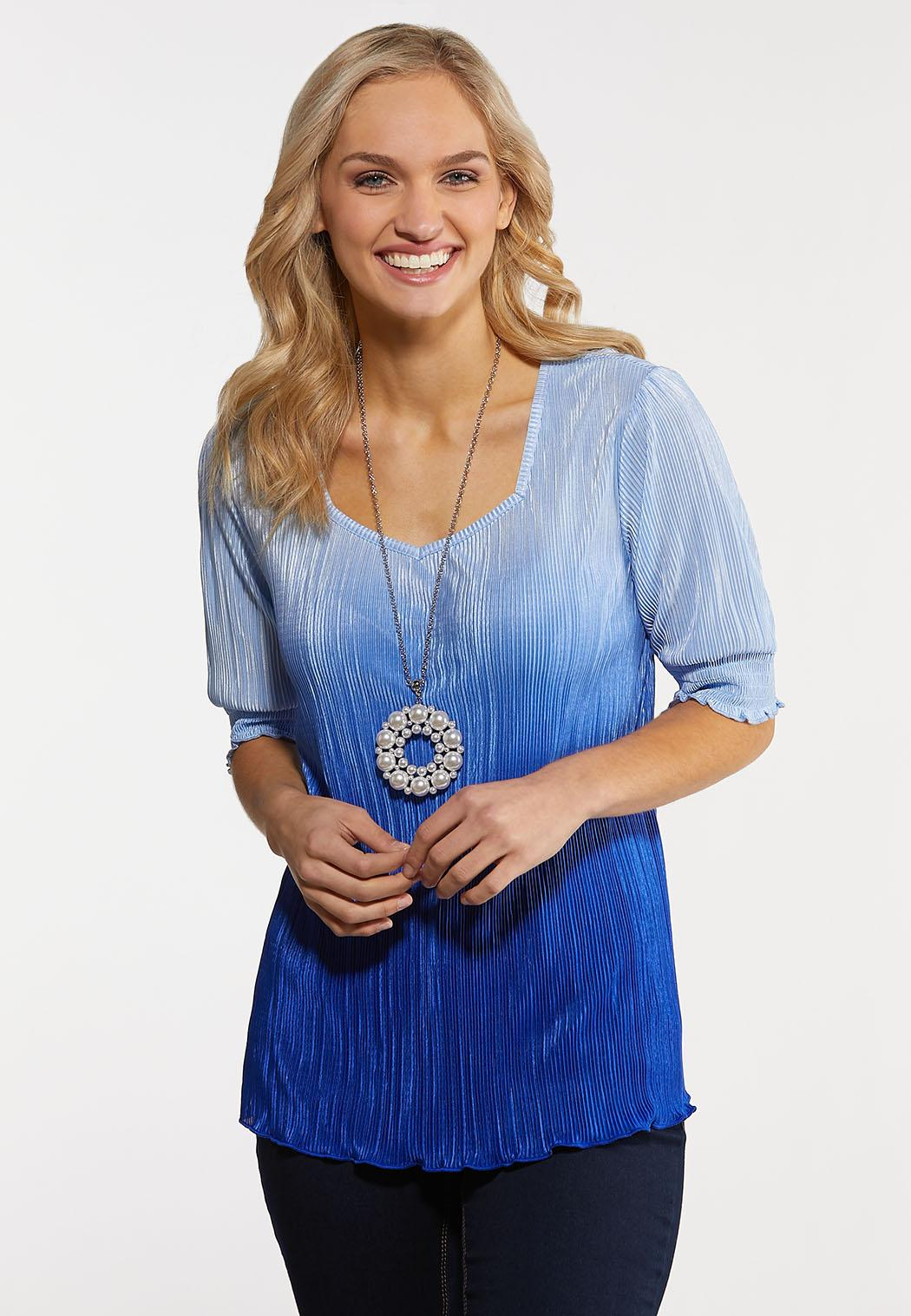 Pleated Blue Ombre Top