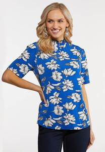 Plus Size Blue Floral Mock Neck Top