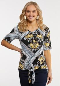 Plus Size Floral Tribal Puff Top