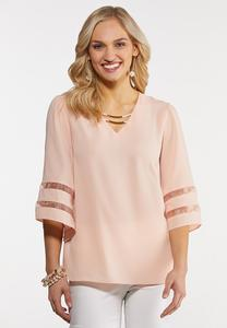 Blush Illusion Sleeve Top