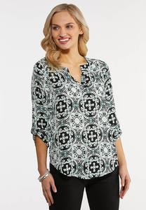 Plus Size Medallion Popover Top