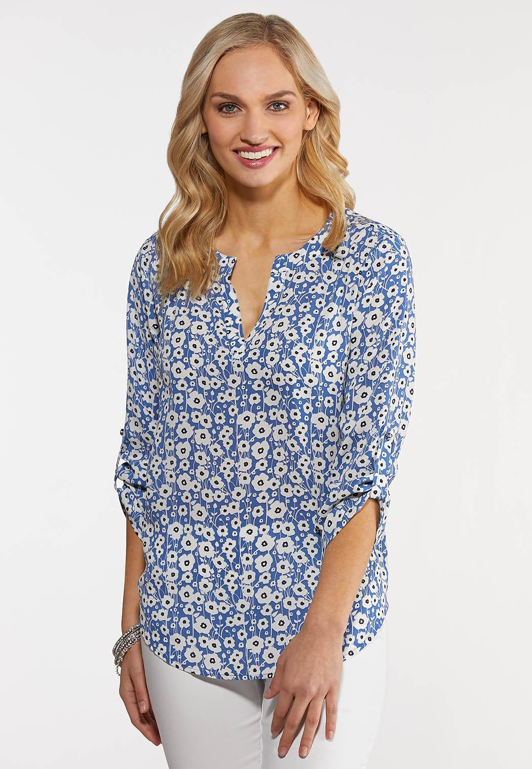 Ditsy Blue Floral Top