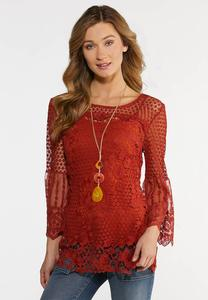Plus Size Crochet And Mesh Top
