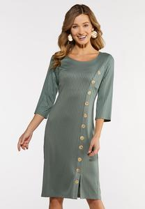 Ribbed Button Midi Dress