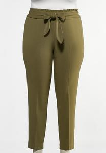 Plus Size Rust Tie Waist Pants