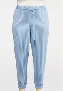 Plus Size Blue Stripe Joggers