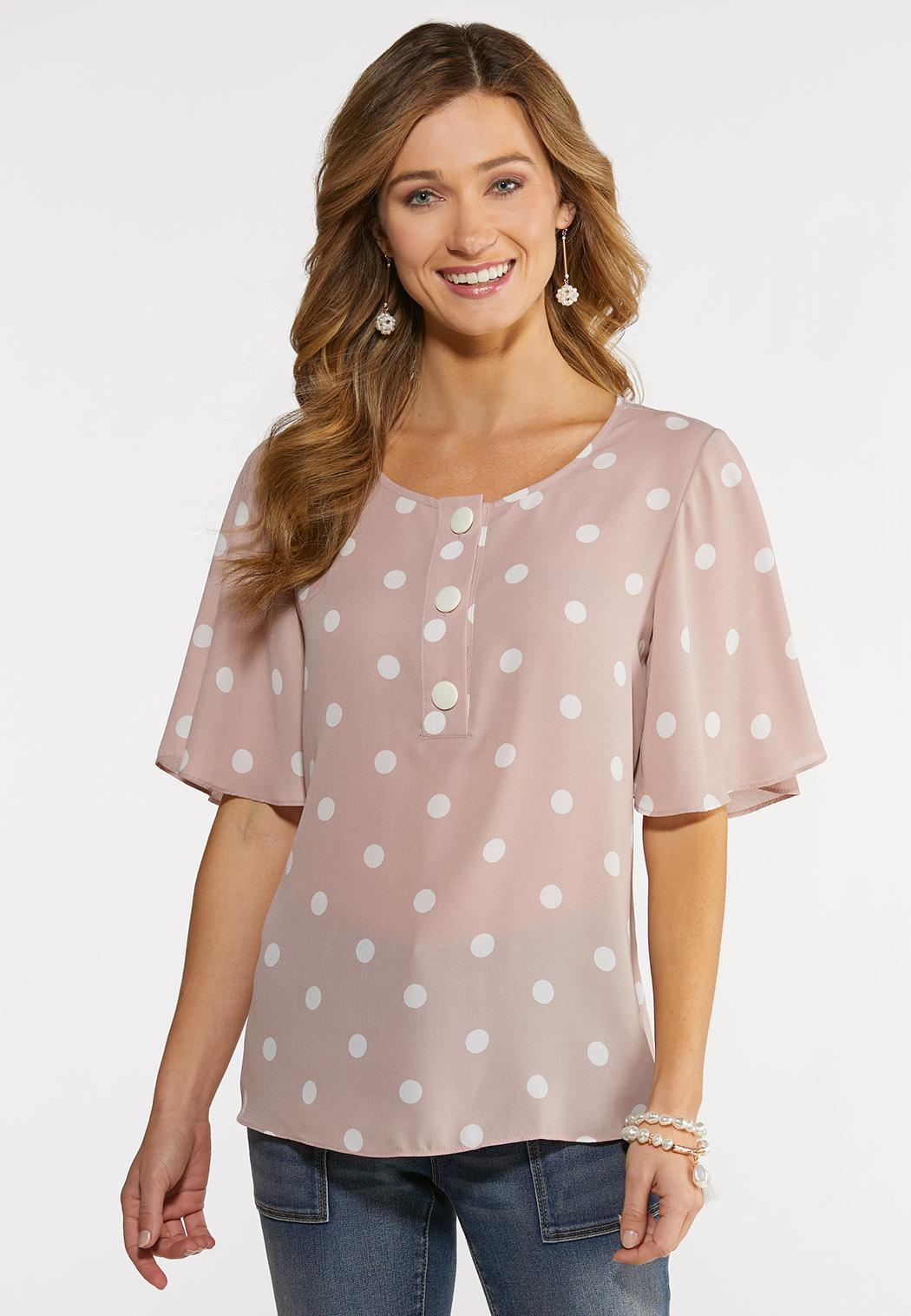 Plus Size Polka Dot Button Top