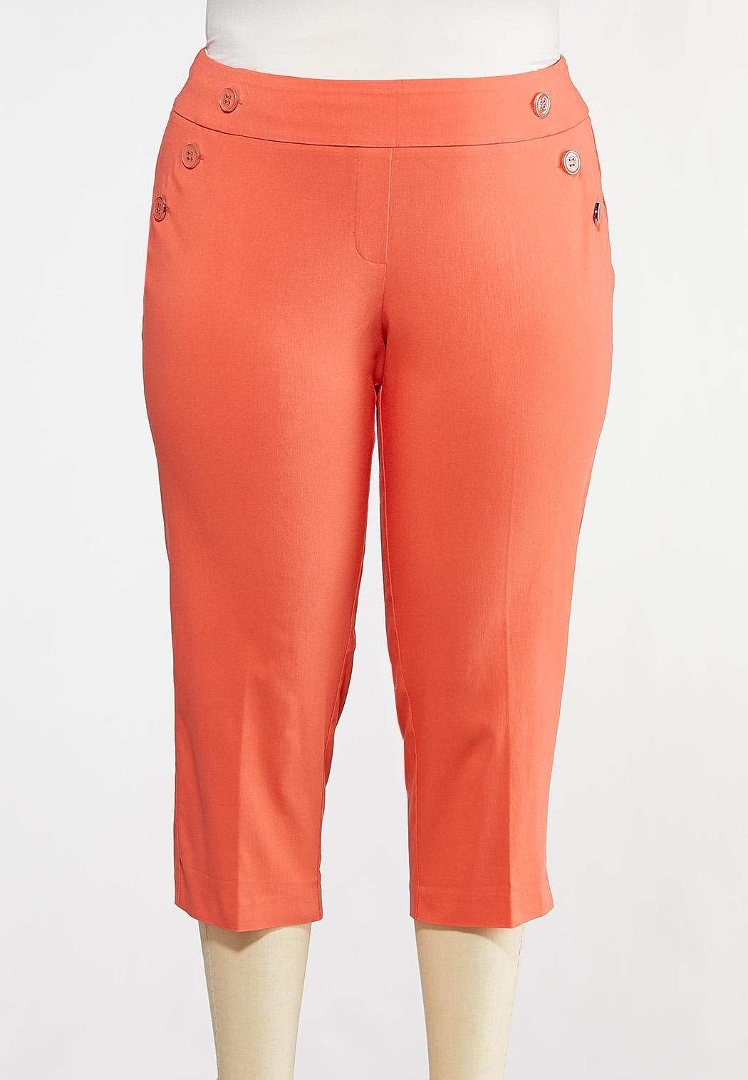 Plus Size Cropped Coral Sailor Pants
